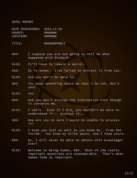 エイダとクルーの会話「回答不能」