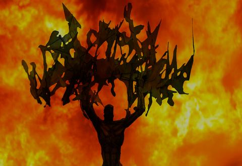 ポータルの手掛かり:火中に立つ人影