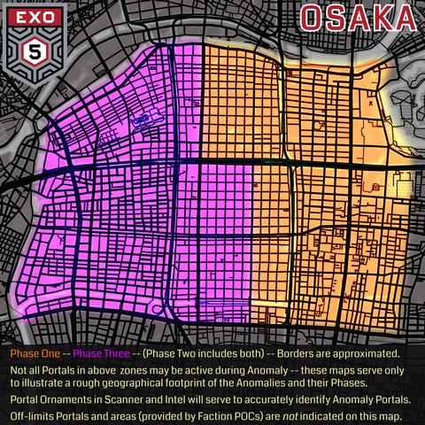 エクソファイブ:発生範囲及びフェイズ区画