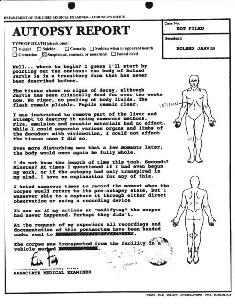 機密情報:ローランド・ジャービスの検死報告書