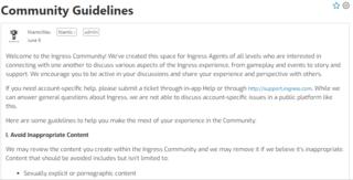 イングレス・コミュニティ:ガイドライン