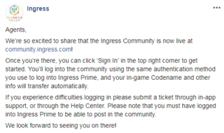 イングレス・コミュニティ:開設