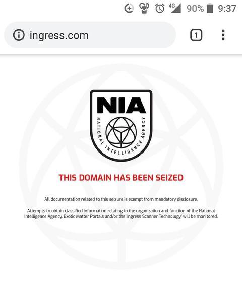 イングレス公式ウェブサイトの差し押さえ
